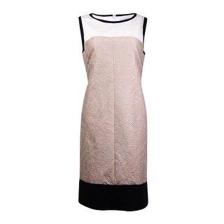 Tahari Women's Sleeveless Colorblocked Dress - Beige/Ivory