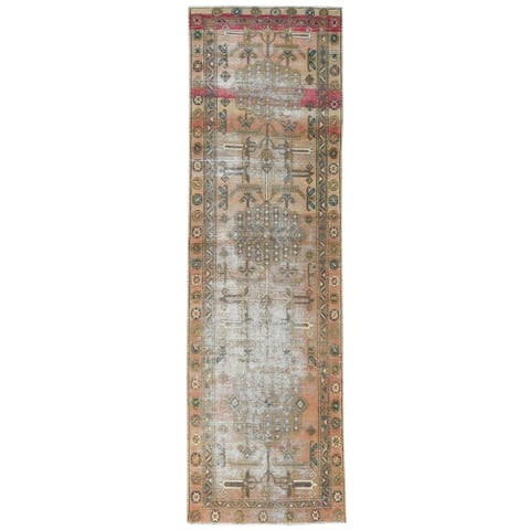 """Shahbanu Rugs Semi Antique Apricot And Peach Colors Persian Tabriz Abrash Worn Down Hand Knotted Wool Runner Rug (3'4"""" x 10'8"""")"""