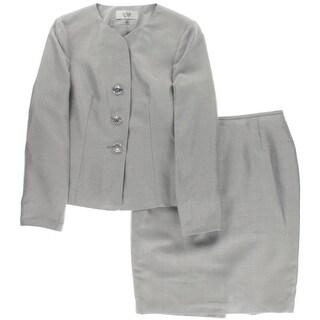 Le Suit Womens Petites Quebec Skirt Suit Metallic Collarless
