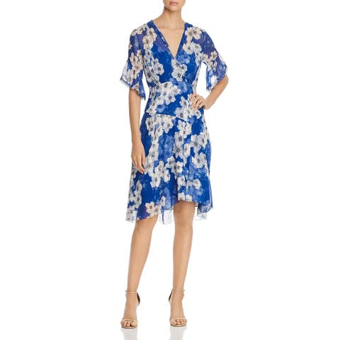 Elie Tahari Womens Ava Party Dress Silk Sheer - Ultra Marine
