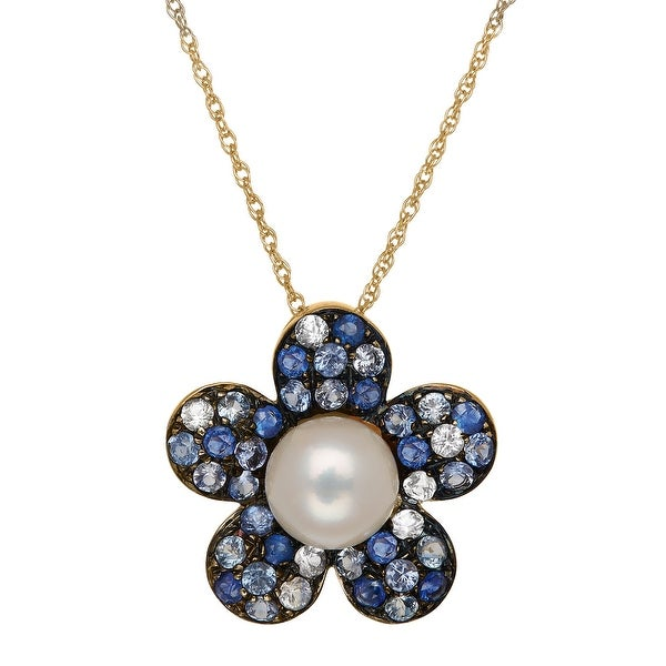 Freshwater Pearl & 3/4 ct Natural Sapphire Flower Pendant in 14K Gold