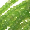 Dyed Jade Gemstone Beads, Faceted Rondelles 2x4mm, 15 Inch Strand, Grass Green - Thumbnail 0