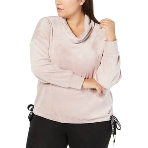 Calvin Klein Womens Sweater Pink Size 3X Plus Drawstring Logo Cowl Neck