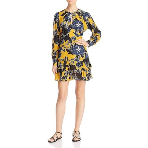 Parker Womens Hayley Wear to Work Dress Silk Blend Floral Print - Canary Gianna