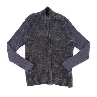 Alfani Ebony Gray Mens Size 3XL Ribbed Full Zip Cardigan Sweater