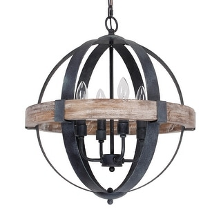 Link to Castello Black 4-Light Wooden Orb Chandelier Similar Items in Chandeliers