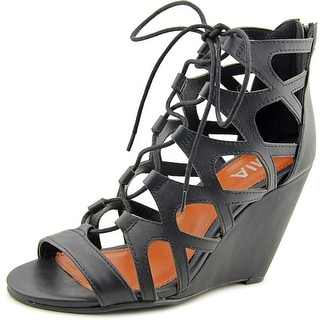 Mia Dolma Women Open Toe Synthetic Black Wedge Sandal