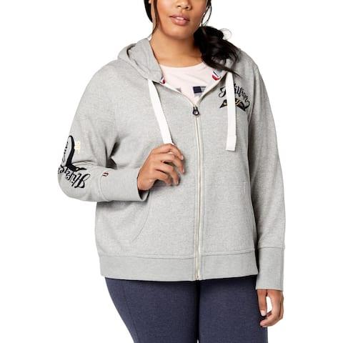 Tommy Hilfiger Womens Plus Hoodie Heathered Logo