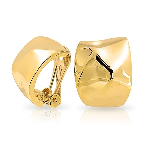 Bling Jewelry Gold Plated Br Hammered Small Hoop Clip On Earrings