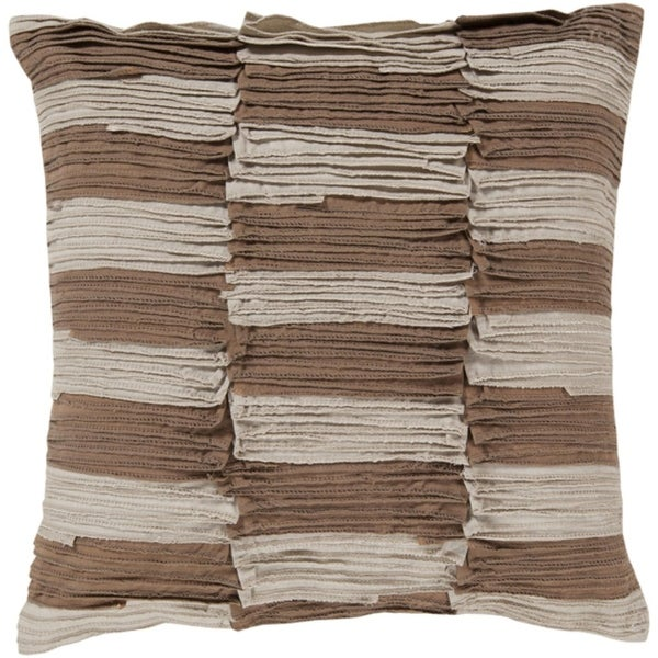"22"" Ruched Stripes Brown and Taupe Decorative Square Throw Pillow - Down Filler"
