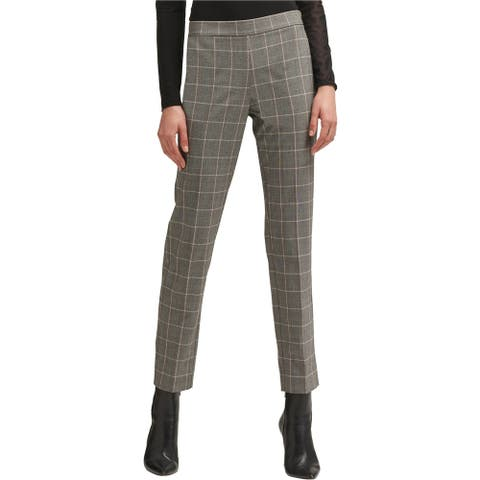 DKNY Womens Plaid Straight Leg Dress Pants, grey, 6