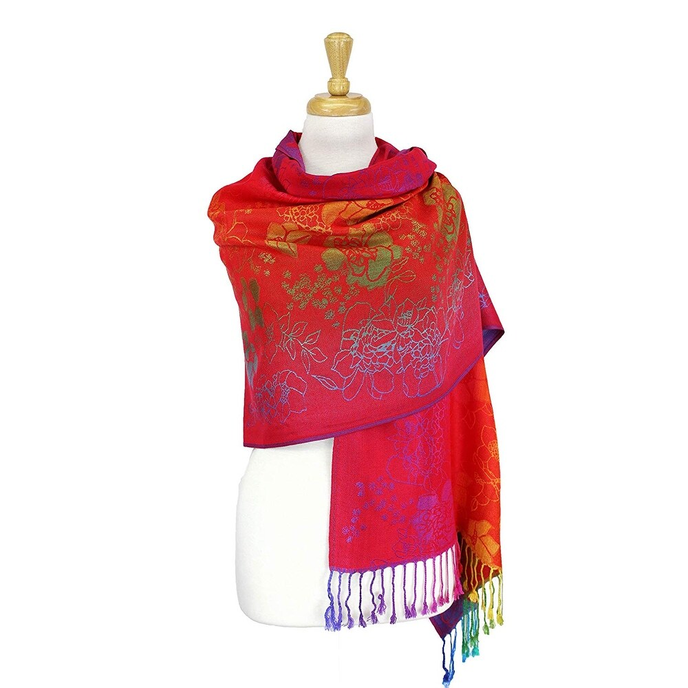 """Pashmina Wrap Shawl Scarf Double Side Rainbow Exotic Tropical Colorful - 28""""x70"""" with fringes - Thumbnail 0"""