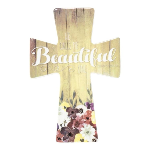 """9"""" White and Brown Wall Cross with Inspirational Bible Quotes - N/A"""