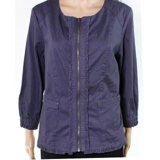 Live a Little NEW Purple Womens Size Medium M Ruffled Trim Jacket
