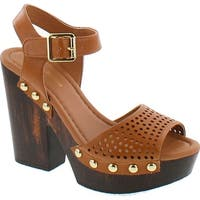 Mark And Maddux Antonio-04 Wood Platform Women's Clog Sandals In Cognac