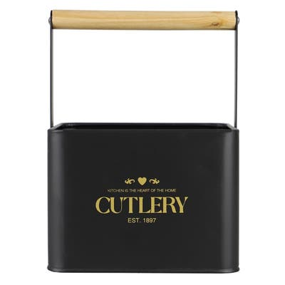 Bistro Sectioned Tin Holder with Bamboo Handle, Black