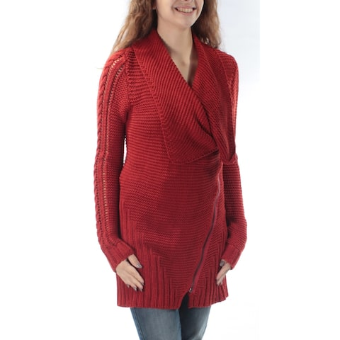 RACHEL ROY Womens Red Zippered Knitted Long Sleeve V Neck Sweater Size: S