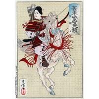 The Female Warrior Hangaku - Japanese Wood-Cut (100% Cotton Towel Absorbent)