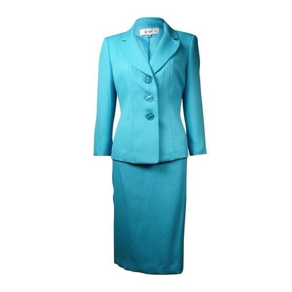 Le Suit Women's Yacht Club Jacquard Skirt Suit - aqua