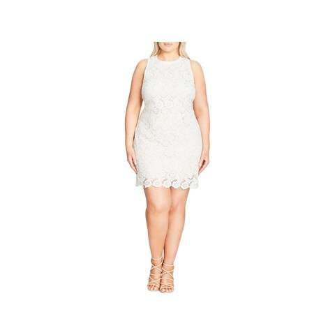 City Chic Womens Plus Cocktail Dress Lace Sleeveless