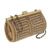 Scheilan  Aged Gold Metal  Crystal Embellished Clutch