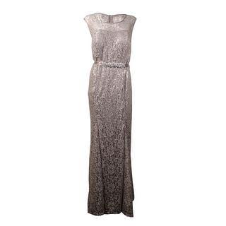 Betsy & Adam Women's Beaded Belt Metallic Lace Gown|https://ak1.ostkcdn.com/images/products/is/images/direct/c711acf8c8da31f4be637c41be6b1de56d7655f6/Betsy-%26-Adam-Women%27s-Beaded-Belt-Metallic-Lace-Gown.jpg?impolicy=medium