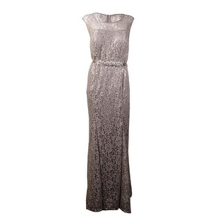 Betsy & Adam Women's Beaded Belt Metallic Lace Gown - Silver