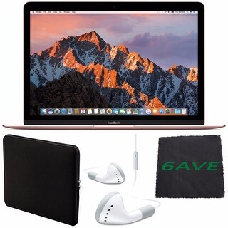 """Apple 12"""" MacBook (Mid 2017 Rose Gold) 256GB SSD #MNYM2LL/A + White Wired Earbuds Headphones + Padded Case + Fibercloth Bundle"""