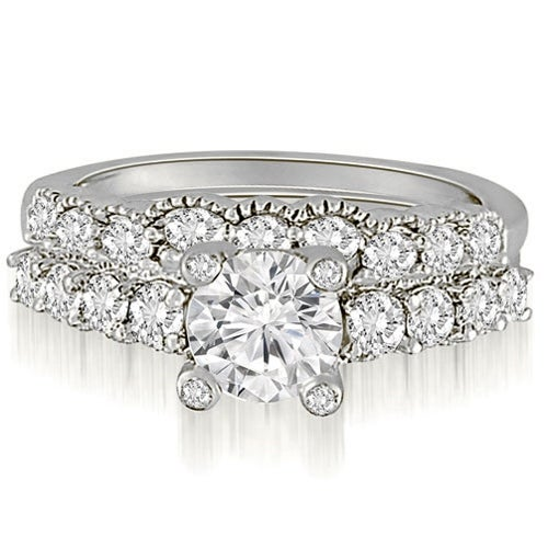 2.05 cttw. 14K White Gold Antique Style Milgrain Diamond Bridal Set
