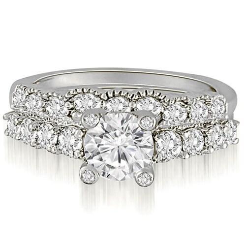 2.05 cttw. 14K White Gold Antique Style Milgrain Diamond Bridal Set