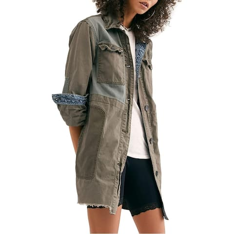 Free People Women's Jacket Olive Green Size XS Military Frayed-Trim
