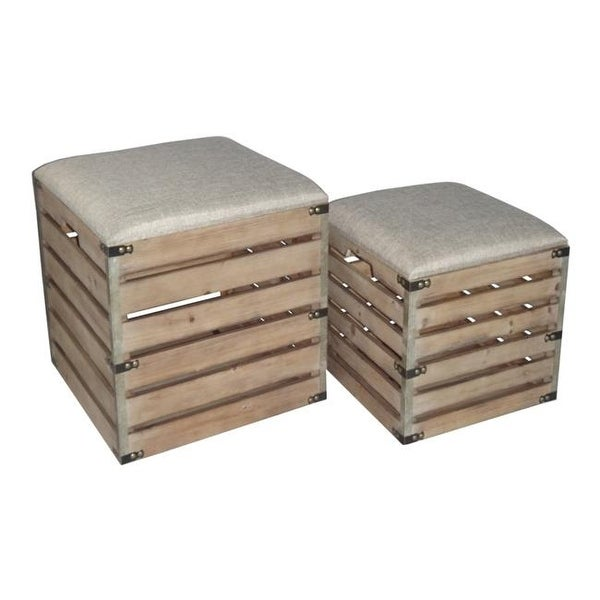 Shop Square Wood Slat Storage Bench With Metal Accent Cushioned