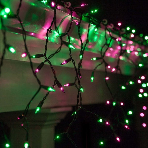 """Wintergreen Lighting 71426 Mini Icicle Lights with 4"""" Spacing and Black Wire - Purple/Green - N/A"""