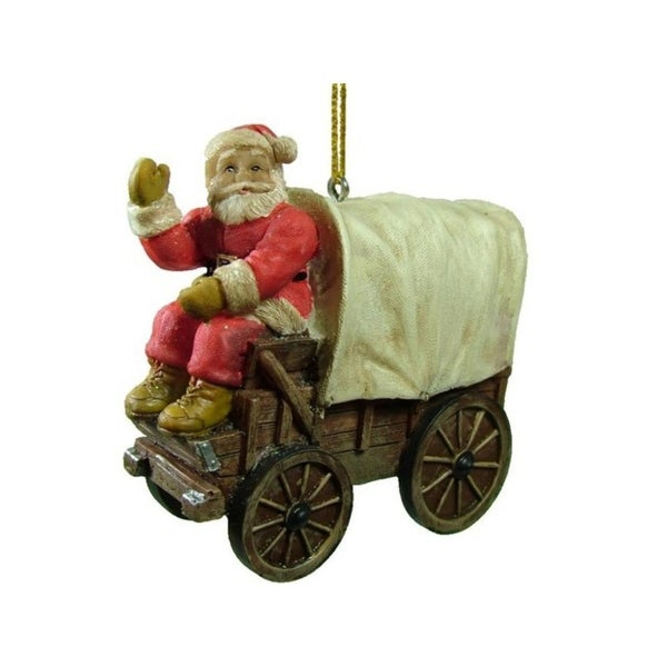 "3.75"" Santa Claus on a Country Western Covered Wagon Christmas Ornament"