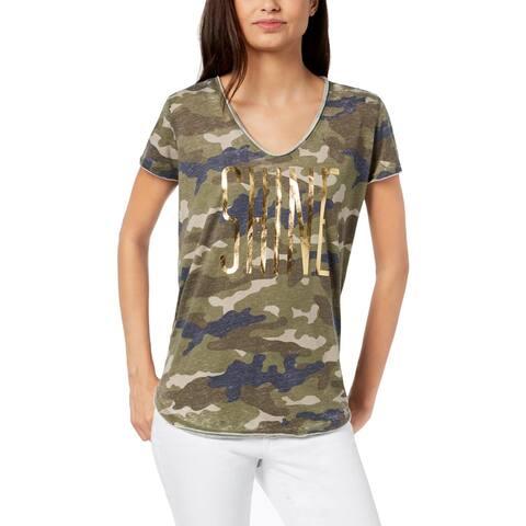 William Rast Womens Shine T-Shirt Camouflage Metallic - S