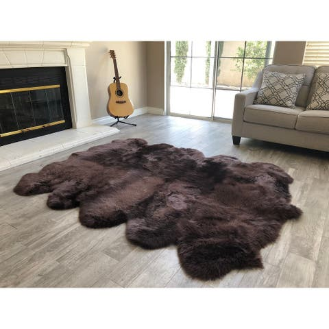 "Dynasty 10-Pelt Luxury Long Wool Sheepskin Dark Brown Shag Rug - 5'5"" x 8'6"""
