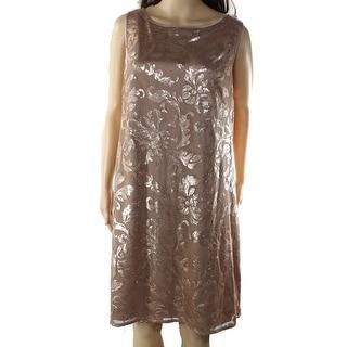 Eliza J NEW Taupe Brown Women's Size 16 Sheath Sequin Mesh Dress