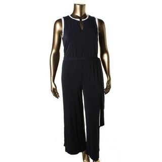 Lauren Ralph Lauren Womens Plus Matte Jerse Sleeveless Jumpsuit