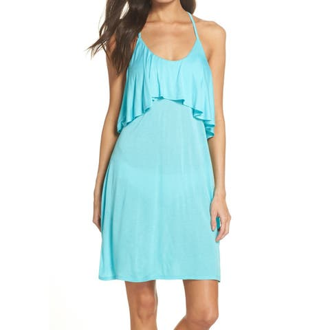 Leith Womens Swimwear Blue Size Small S Cover-Up Dress Popover Ruffle