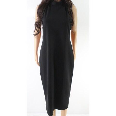 Leith Black Women's Size Large L Mock Neck Seamed Sheath Dress