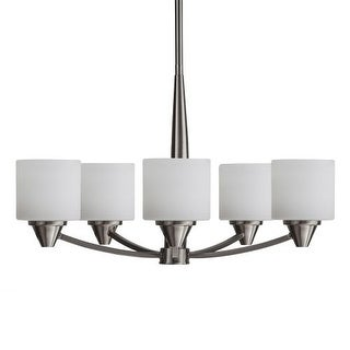 """Park Harbor PHHL6285 Eastover 25"""" Wide 5 Light Chandelier with Etched Glass Shades"""