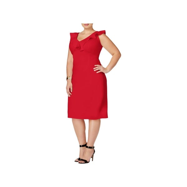 Love Squared Womens Plus Party Dress Solid Ruffled