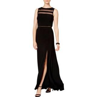 NW Nightway Womens Petites Maxi Dress Mesh Inset Front Slit