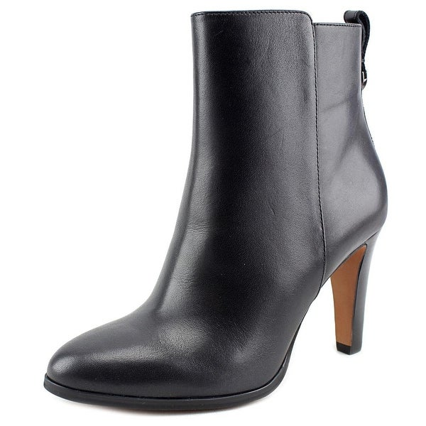 Coach Jemma Women Round Toe Leather Black Ankle Boot