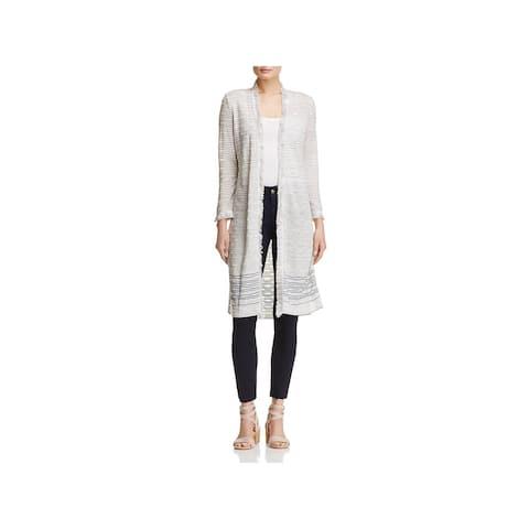 Nic + Zoe Womens Duster Sweater Striped Open Front - XL