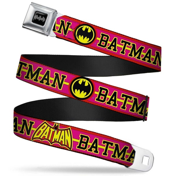 Batman Black Silver Batman Retro Logos Stripe Fluorescent Red Hot Pink Seatbelt Belt Standard