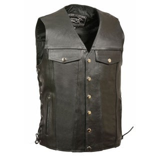 Mens Leather Side Lace Vest with Denim Style Pockets - Tall