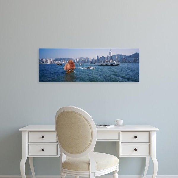 Easy Art Prints Panoramic Images's 'Buildings on the waterfront, Kowloon, Hong Kong, China' Premium Canvas Art