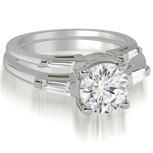 1.05 cttw. 14K White Gold Round Baguette Cut Three Stone Diamond Bridal Set