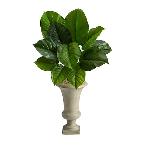 """3' Large Philodendron Leaf Artificial Plant in Sand Colored Urn - 20"""""""